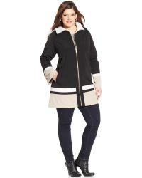 Jones New York Plus Size Hooded Colorblocked Coat - Lyst