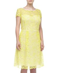 Abs By Allen Schwartz Jewelry Capsleeve Floral Lace Dress Yellow - Lyst