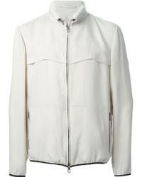 Giorgio Armani Contrast Trim Zip Front Jacket beige - Lyst
