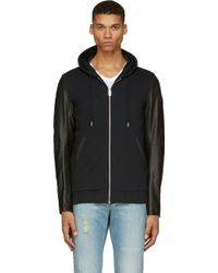 Diesel Black Leather and Jersey L_siris Hoodie - Lyst