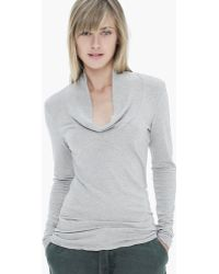 James Perse Cotton Cashmere Cowl Skinny Top - Lyst