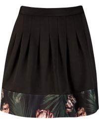 Ted Baker Palm Floral Pleat Skirt - Lyst