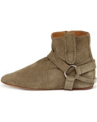 Isabel Marant Stitched Suede Harness Bootie - Lyst