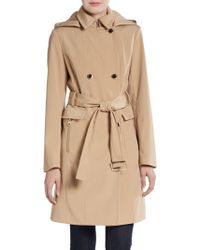 Calvin Klein Double Breasted Belted Trench Coat - Lyst