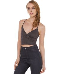 Akira So Basic Charcoal Ribbed Crop Top - Lyst
