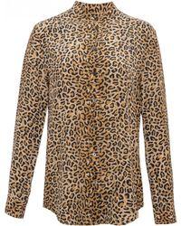 Equipment | Long Sleeve Leopard Collarless Reese Blouse | Lyst