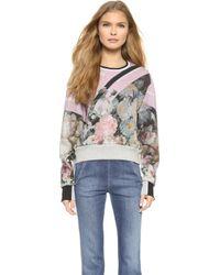 Preen Aria Cropped Sweatshirt - Painted Flower - Lyst
