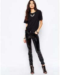Tripp Nyc - Vinyl Skinny Trousers In Patent - Black - Lyst