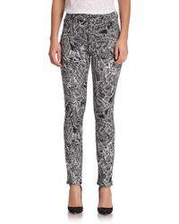 Jen7 Printed Cropped Skinny Jeans - Lyst