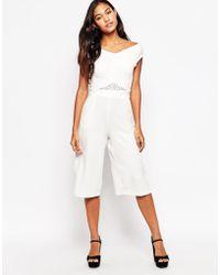 Liquorish - Culotte Jumpsuit With Lace Insert - Lyst