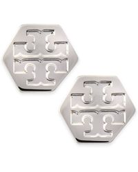 Tory Burch Hexagon Logo Stud Earrings - Lyst