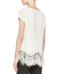 Lela Rose Embellished Featherhem Silk Blouse - Lyst