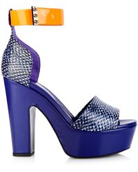 Nicholas Kirkwood Leather And Snakeskin Platform Sandals blue - Lyst