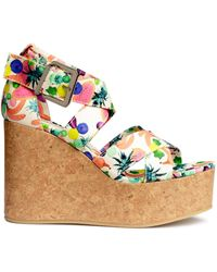 H&M Platform Sandals white - Lyst