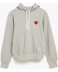 Play Comme des Garçons Cotton Pile Hooded Sweatshirt gray - Lyst
