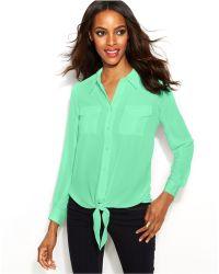 Inc International Concepts Button-Down Tie-Front Blouse - Lyst