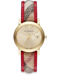 Burberry City Goldtone Stainless Steel, Leather & Check Strap Watch - Lyst