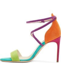 Brian Atwood Orange Colorblocked Suede Tamy Sandals - Lyst