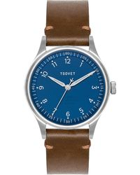 Tsovet | Jpt-pw36 Navy And Brown Leather Watch | Lyst