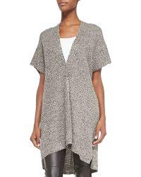 Eileen Fisher Kimono-Sleeve Organic Linen Wool Cardigan - Lyst