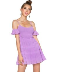 Pixie Market Lavender Dreaming Off Shoulder Dress - Lyst