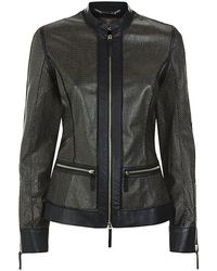 Roberto Cavalli Perforated Leather Jacket - Lyst