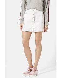 Topshop 'Popper' Denim Miniskirt - Lyst