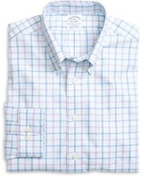Brooks Brothers Non-Iron Regent Fit Blue Twin Check Sport Shirt - Lyst