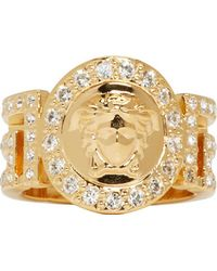 Versace Gold Greek Key Cut_Out Medusa Ring - Lyst