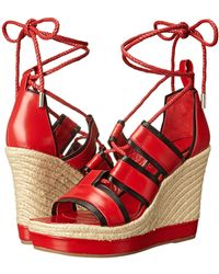Alexander McQueen Ankle Wrap Wedge Sandal - Lyst