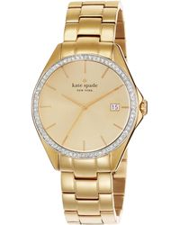 Kate Spade Seaport Grand PavÉ Crystal & Goldtone Stainless Steel Bracelet Watch gold - Lyst