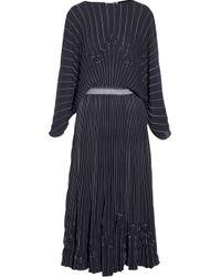Vionnet Pleated Crepe Maxi Dress - Lyst