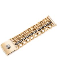 Fred Leighton - Contemporary 18K Yellow Gold And Silver 4 Row Chain And Diamond Bracelet - Lyst