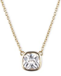 Anne Klein - Crystal Square Pendant Necklace - Lyst