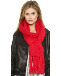 DKNY Scarf with Fringe - Flame - Lyst