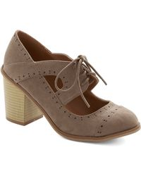 ModCloth Conventional Winsome Heel in Taupe - Lyst