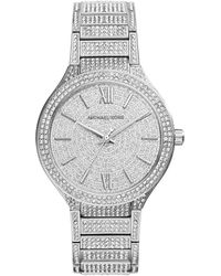 Michael Kors Kerry Silver Stainless Steel Pave Watch - Lyst