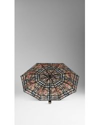 Burberry Floral Check Folding Umbrella - Lyst