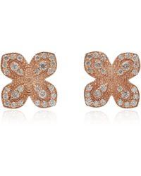 Jamie Wolf - Rose Gold Pave Diamond Scallop Edge Flower Stud Earrings - Lyst