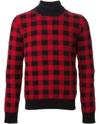 Saint Laurent Red Plaid Sweater - Lyst
