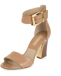 Michael Kors Leather Two Strap Wood Heel Sandle - Lyst