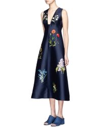 Stella McCartney | Floral Embroidery Duchesse Satin Flare Dress | Lyst