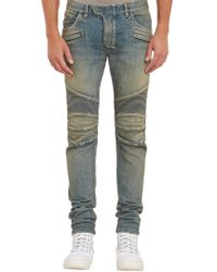 Balmain Washed Denim Biker Jeans - Lyst