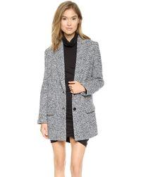 Pam & Gela - Wool Check Coat - Blue Check - Lyst