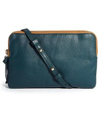 Asos Leather Double Compartment Cross Body Bag - Lyst
