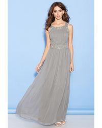 Forever 21 Beaded Chiffon Maxi Dress - Lyst