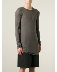 Rick Owens Gray Draped T-Shirt - Lyst