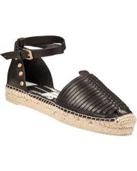 Dolce Vita Ceyla Flat Espadrille Sandal Black Leather - Lyst