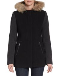 Marc New York By Andrew Marc Fur-Trimmed Wool Colorblock Jacket - Lyst