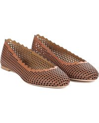 Chloé Perforated Scalloped Flat - Lyst